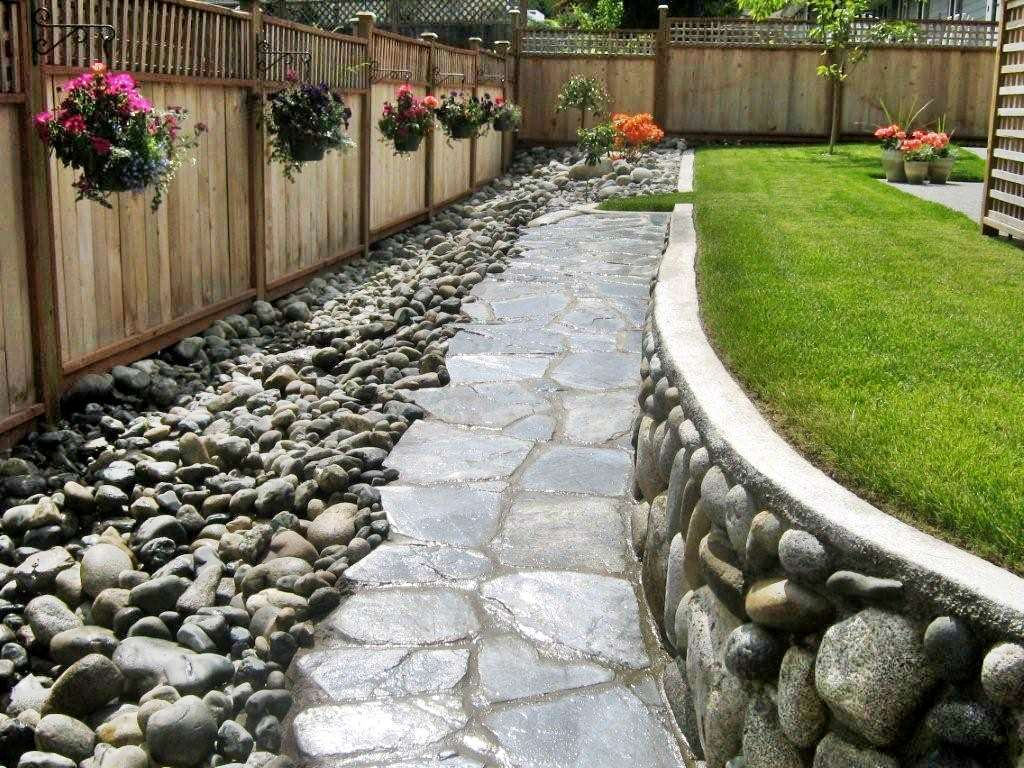 backyard pathway with rocks