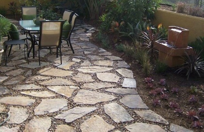 Flagstone ideas patio for Flagstone patio designs