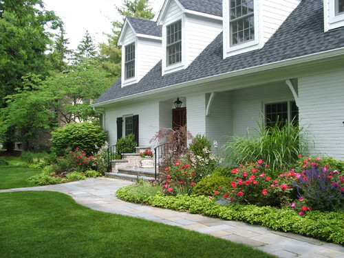 Front Elevation Landscape Ideas : Country side landscape front of house with small path